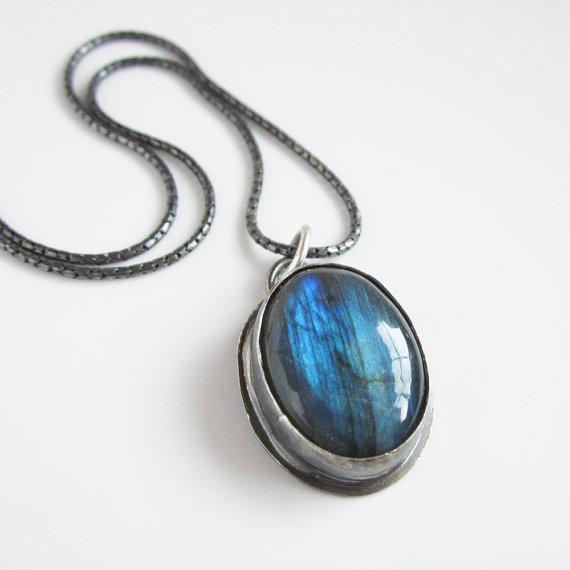 Labradorite Oval Pendant by sarawestermark on Etsy