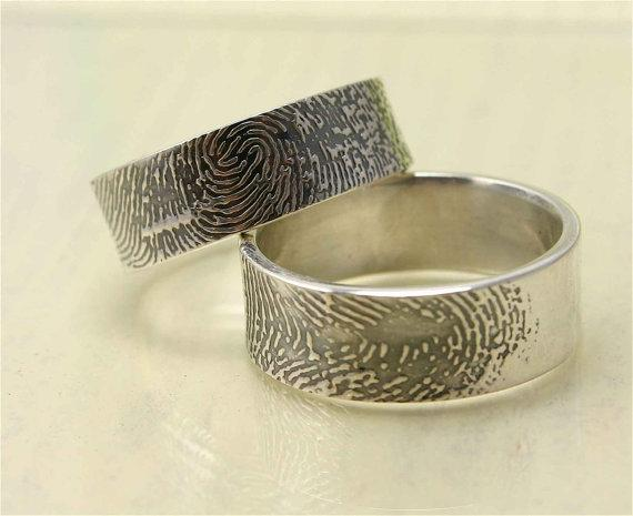 set of 2 8mm etched sterling or gold fingerprint by katyjane