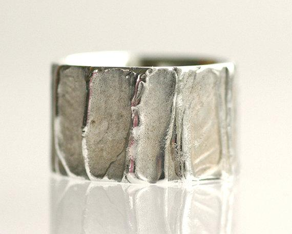 Rustic Wedding Band/Wide Band Sterling Silver by TinkenJewelry
