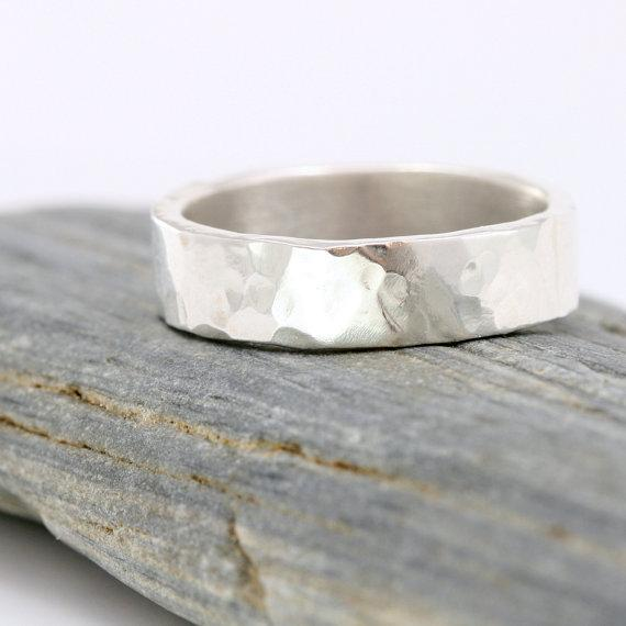 Sterling Silver Hammered Mens Wedding Band Mens by ScarlettJewelry