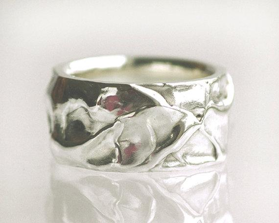 Sterling Silver Wide Band/Wedding Band organic by TinkenJewelry