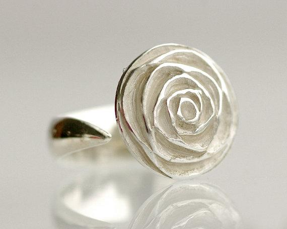 Sterling Silver Rose Ring simple organic hand by TinkenJewelry