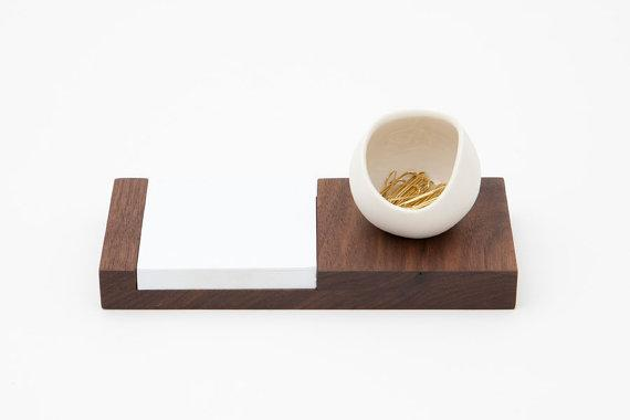 Walnut and Porcelain desk catchall by farrahsit on Etsy