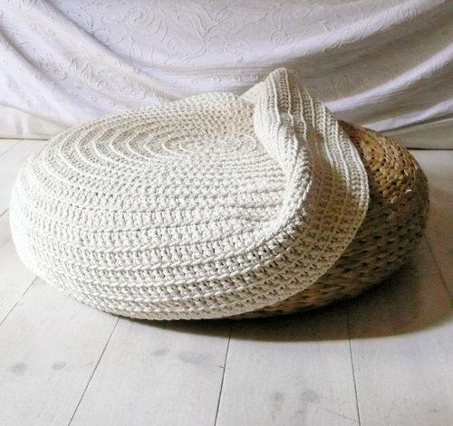 Crochet stool cover ecru by lacasadecoto on Etsy