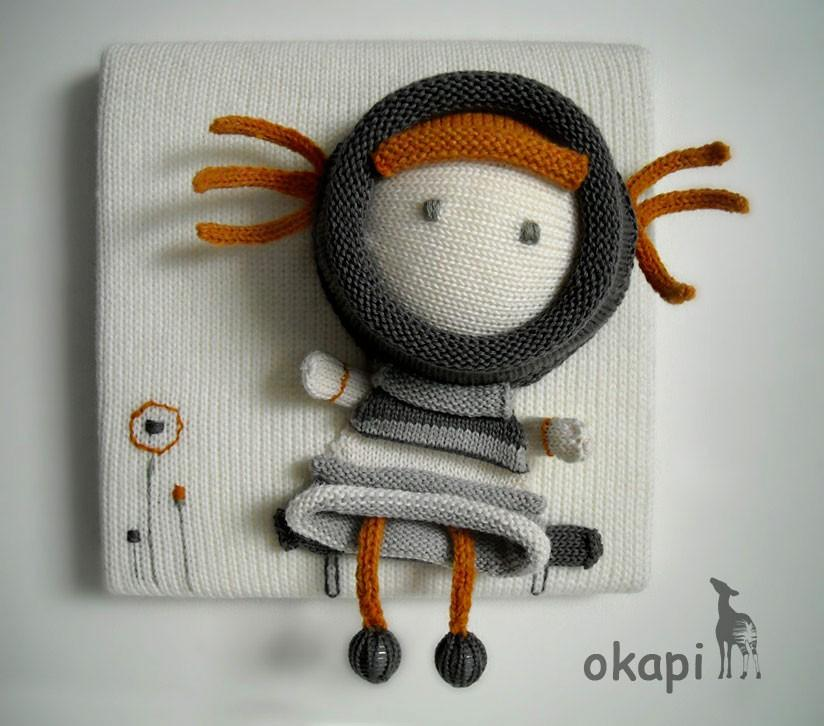 Lili is waiting for youknitting canvas by okapiknits on Etsy