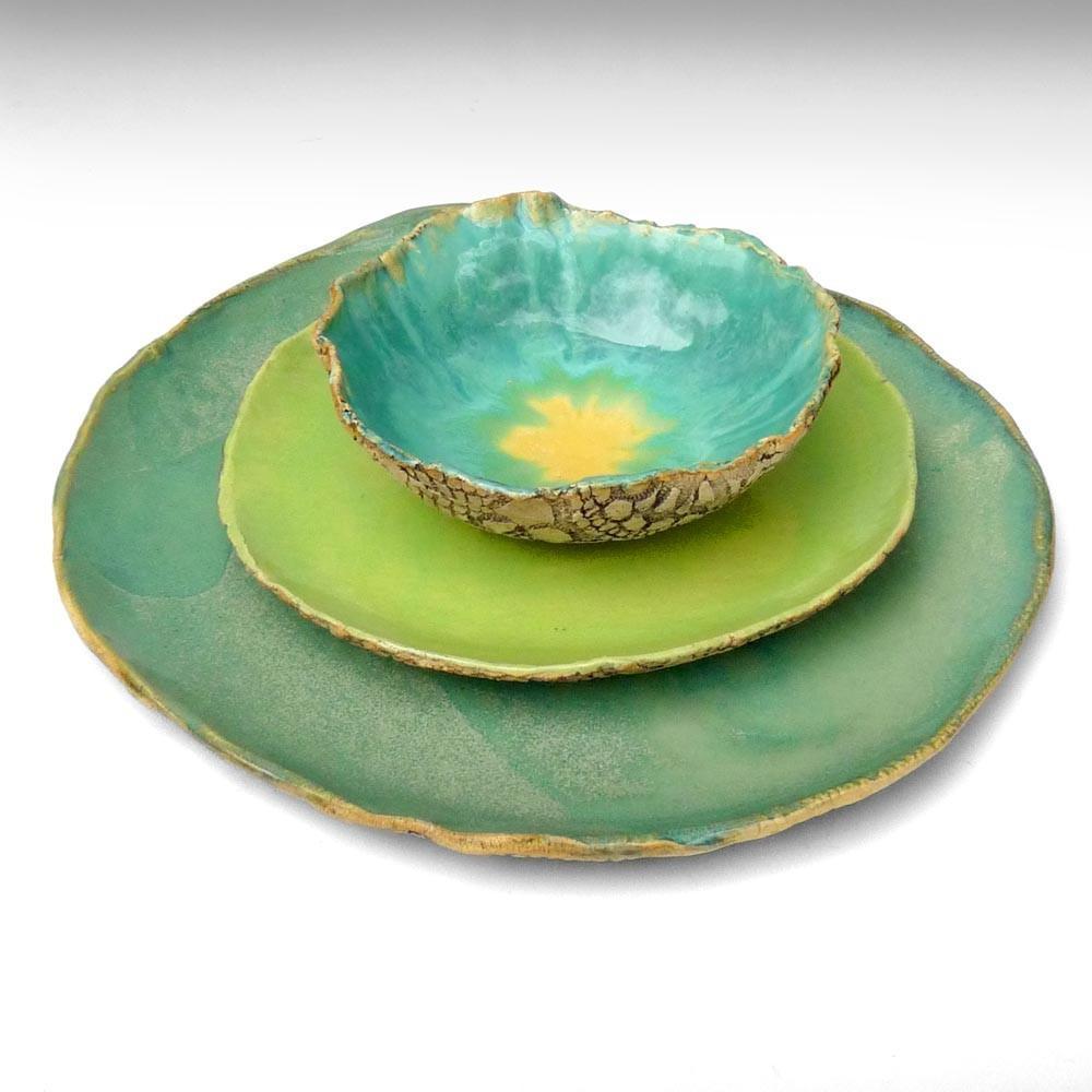 rustic stoneware dinnerware handmade Organic Soul 3 by OneClayBead