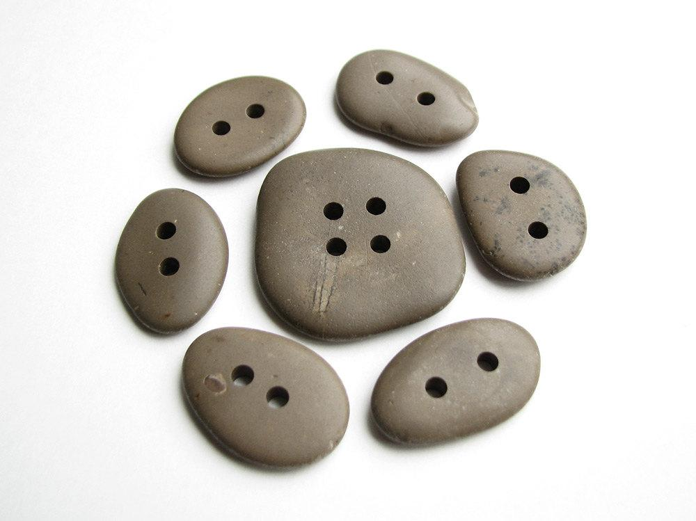 Stone Buttons Drilled Beach Stones Flat Smooth by StoneHood