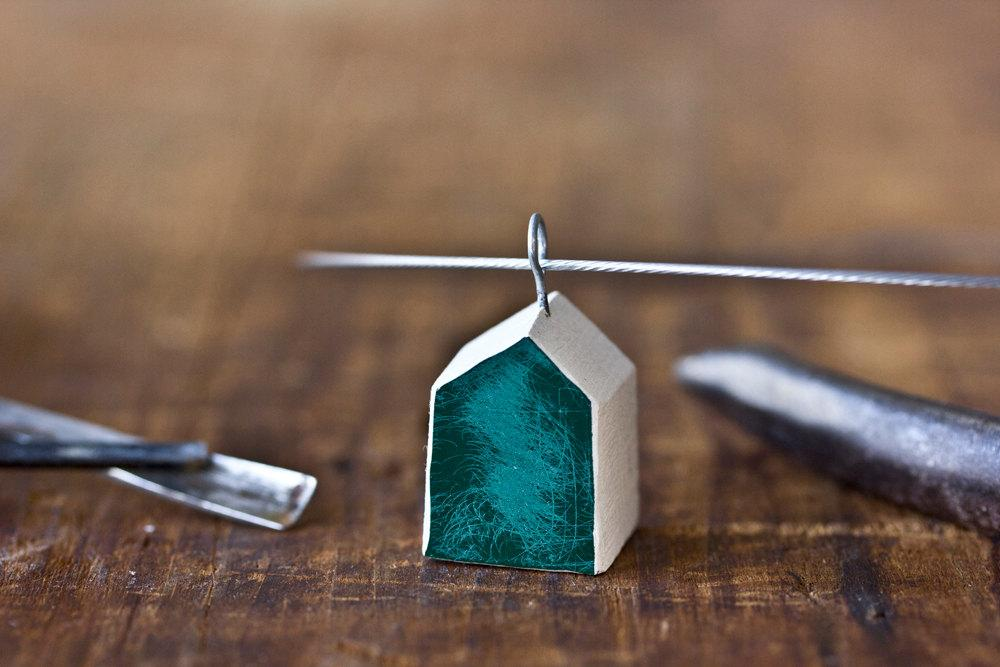 brushed enamel house necklace green modern rustic clay by POAST