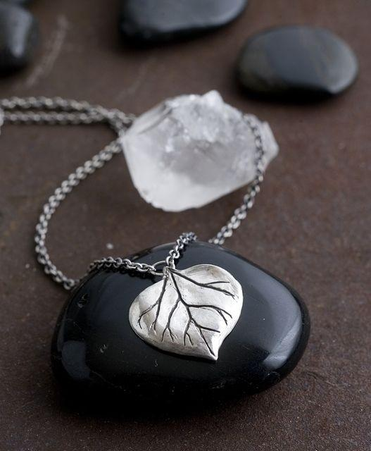 Silver Aspen Leaf Necklace by colbyjune on Etsy
