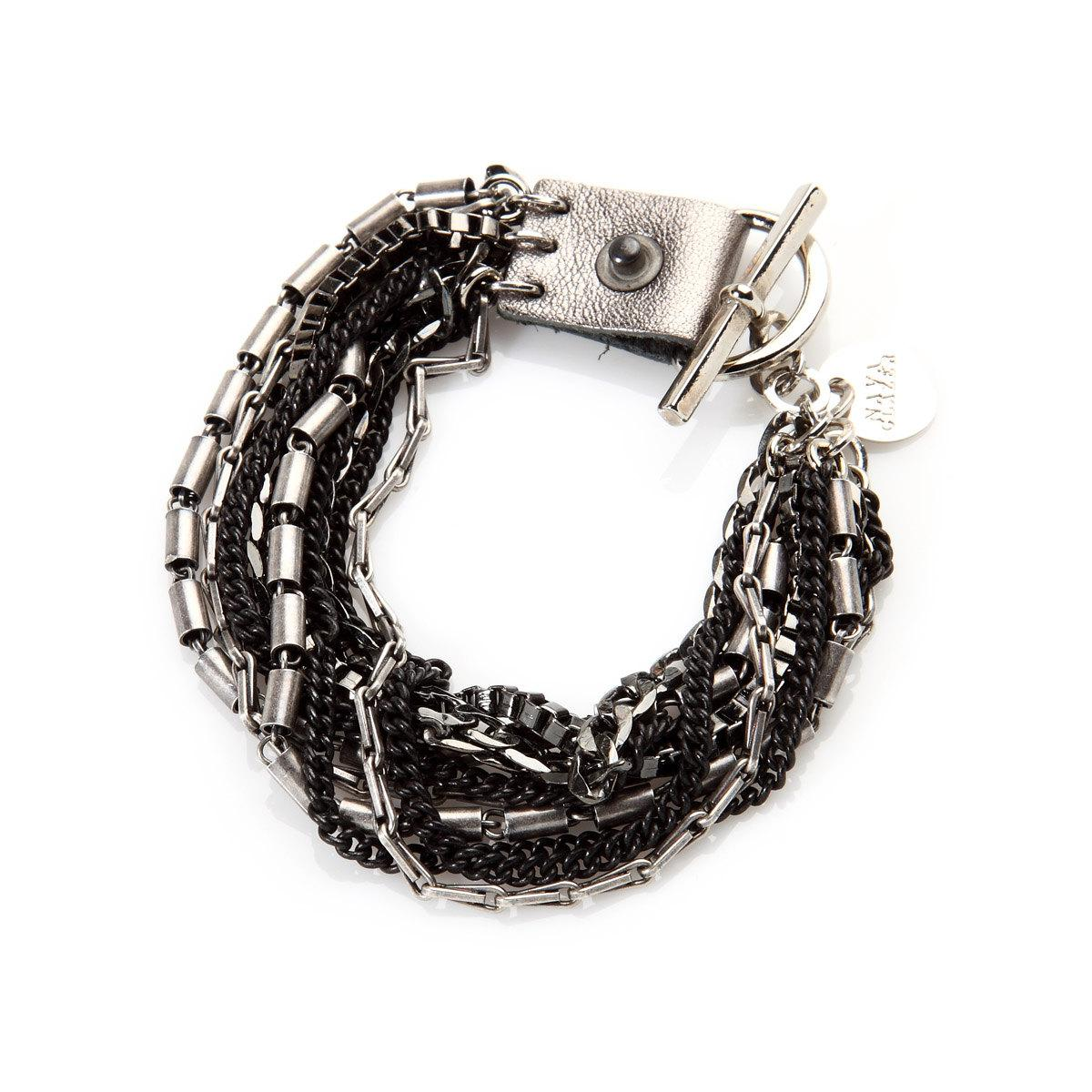 Bracelet in Silver and Gun Metal Chains and Leather by NavaGlazer