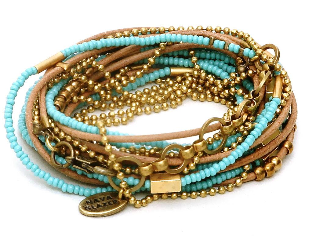 Turquoise Beads Golden Charms and Beads Camel by NavaGlazer