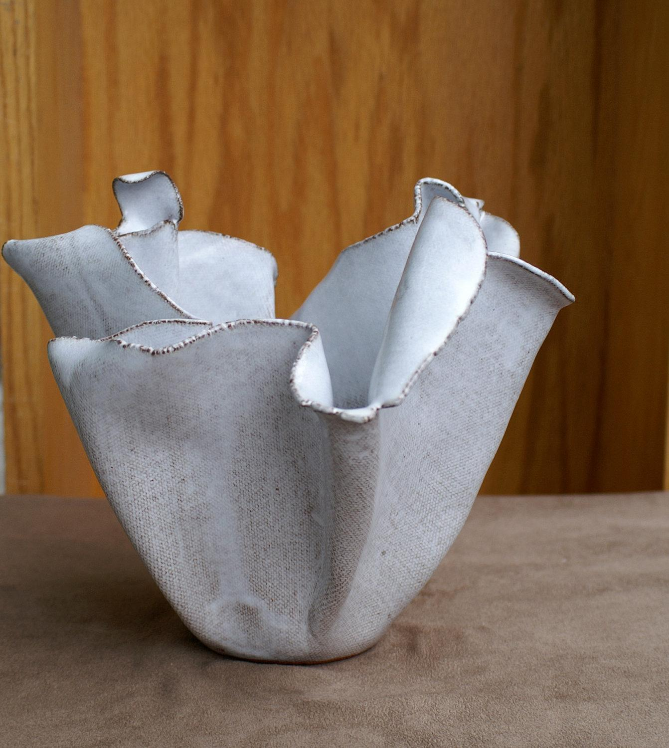 Glossy White Ceramic Sculpture by PacePottery on Etsy