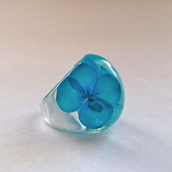 Blue Hydrangea Resin Ring Botanical Resin by SpottedDogAsheville