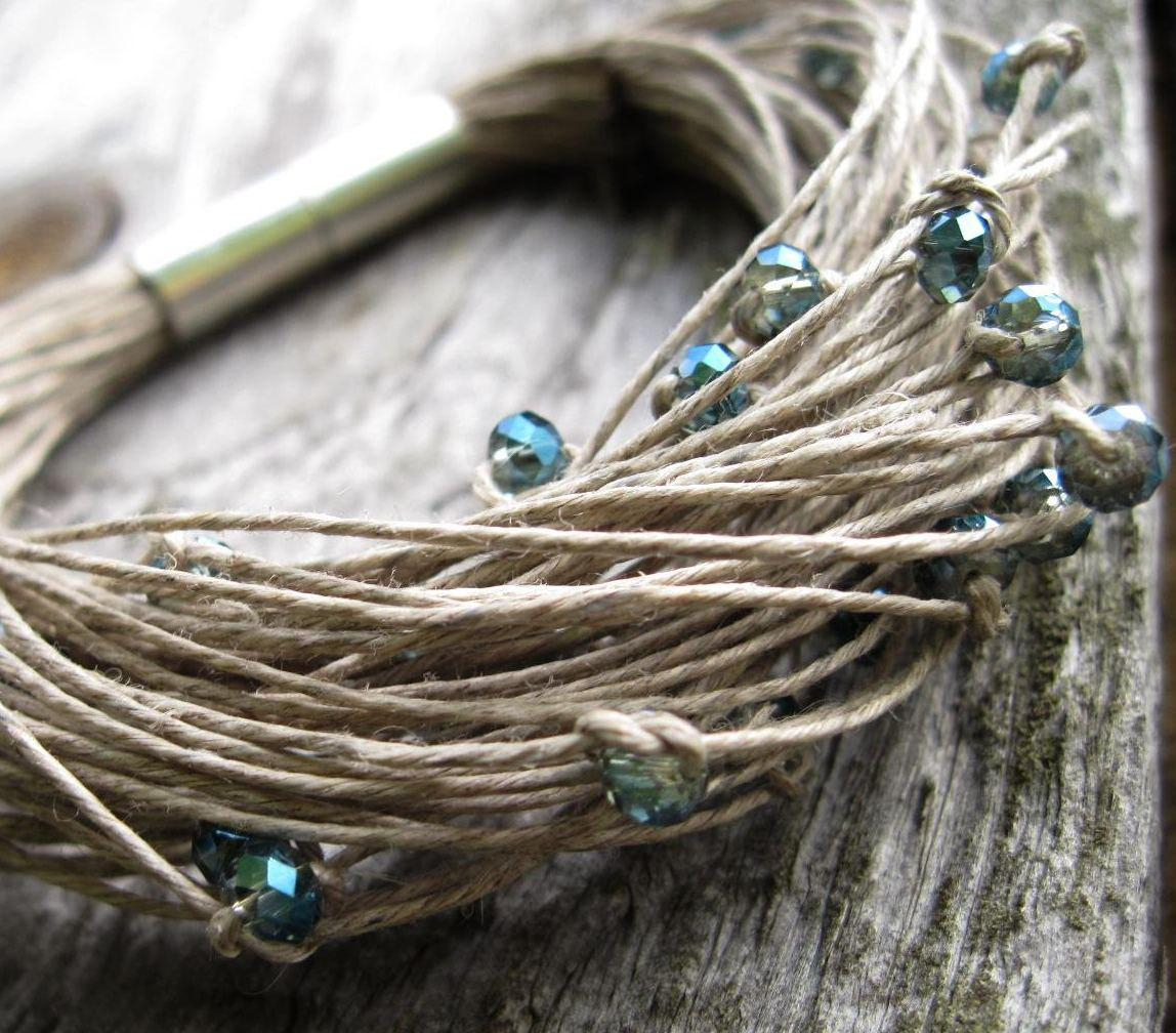 Sparkling Glass Linen Bracelet Elegant Teal Gray by DreamsFactory