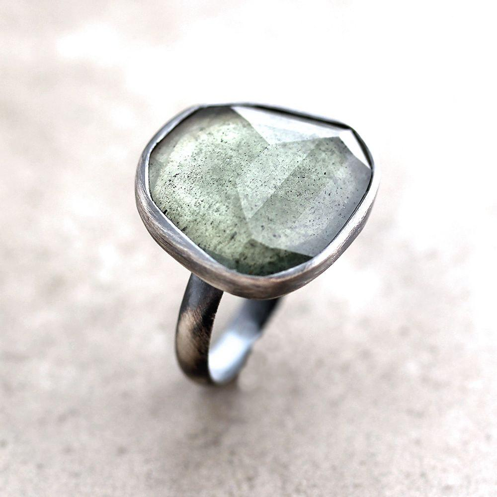 Moss Aquamarine Ring Watery Sage Green Faceted Stone by TheSlyFox