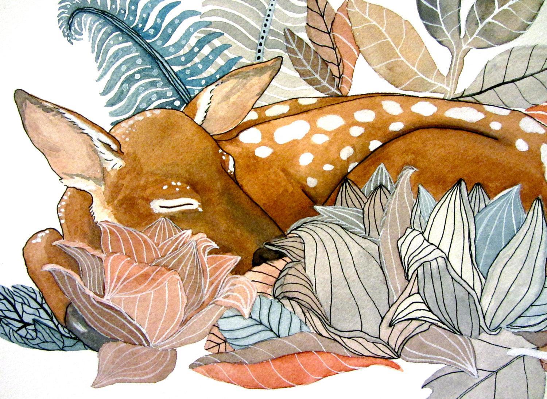 Fawn Deer Painting Watercolor Art Botanical Garden by RiverLuna