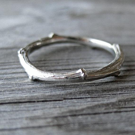 Twig Band White Gold 2mm wide by kristincoffin on Etsy