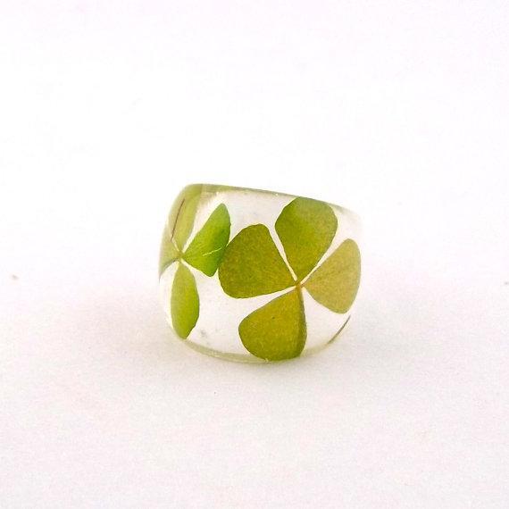 Four Leaf Clover Resin Ring Green Resin by SpottedDogAsheville