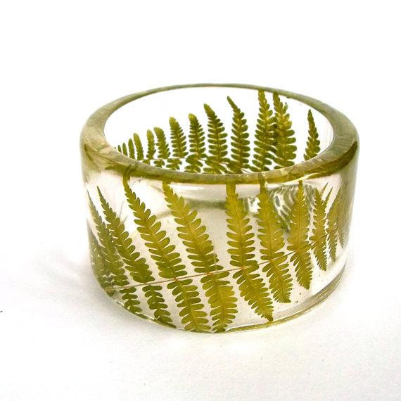 Fern Botanical Resin Bangle Chunky by SpottedDogAsheville on Etsy