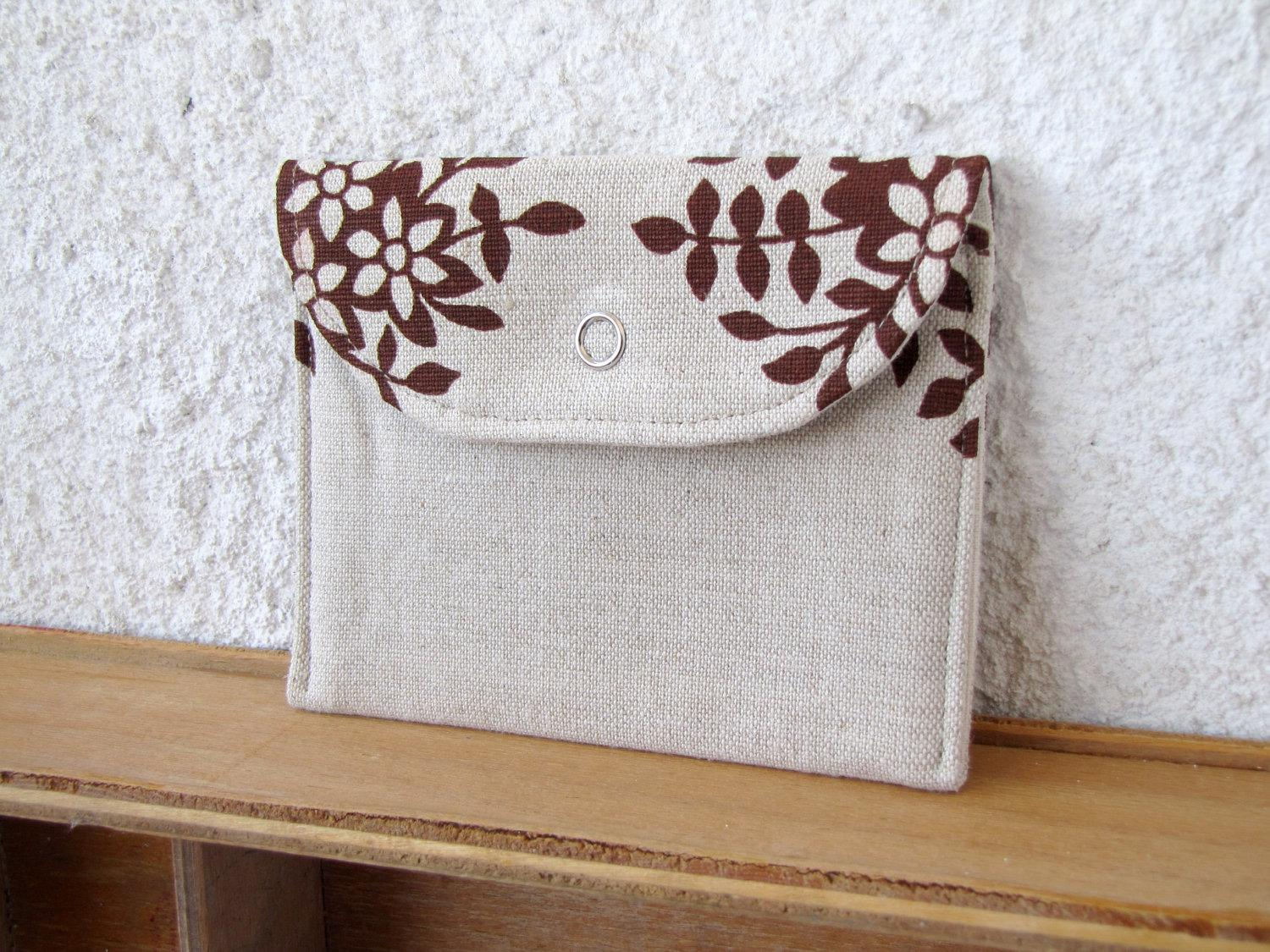 mini wallet Floral printed Linen by HelloVioleta on Etsy