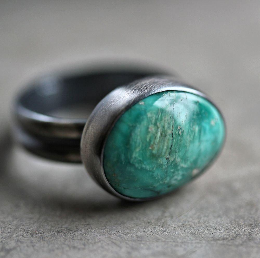 Fox Turquoise Ring Teal Blue Green Natural Nevada by TheSlyFox
