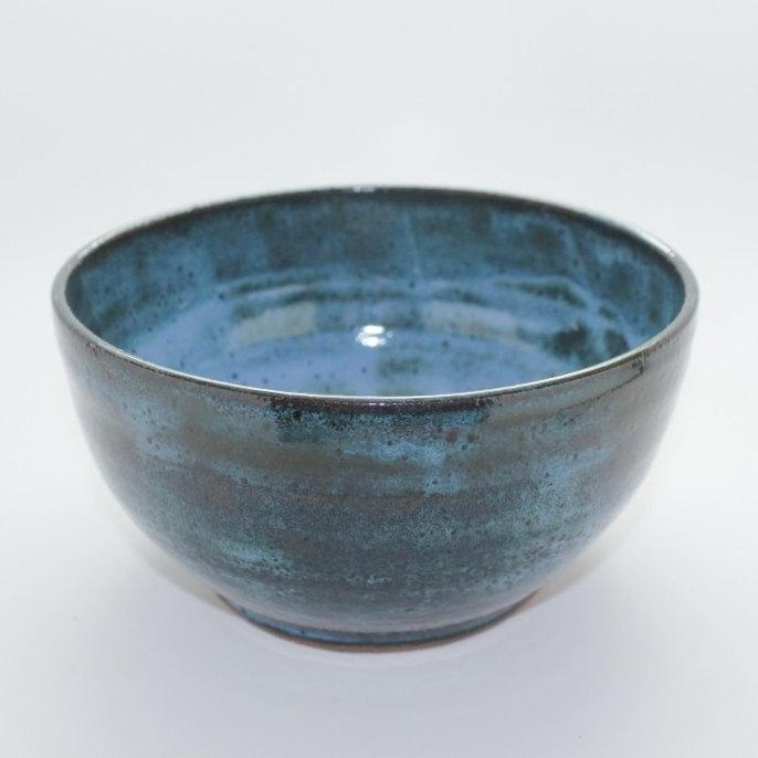 Wheel Thrown Mottled Blue Mixing Bowl by MountainMudBabies on Etsy
