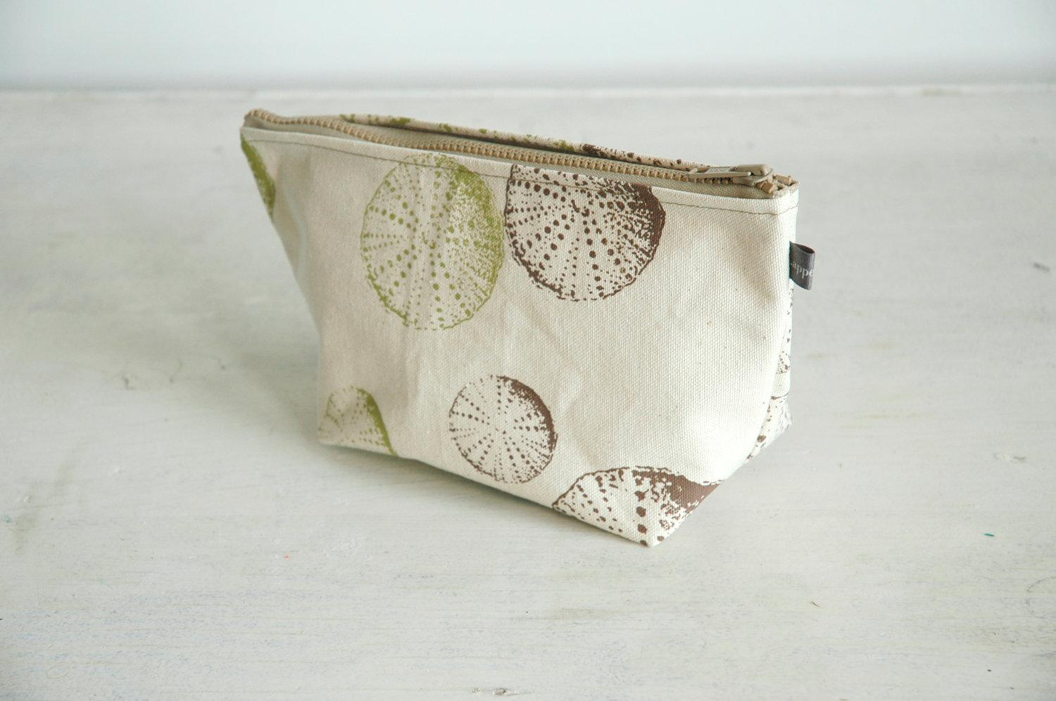 Natural canvas cosmetic bag with green & brown Urchin by appetite
