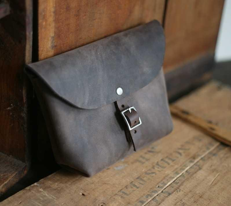Larger Buckled Leather Utility Pouch by Forestbound on Etsy