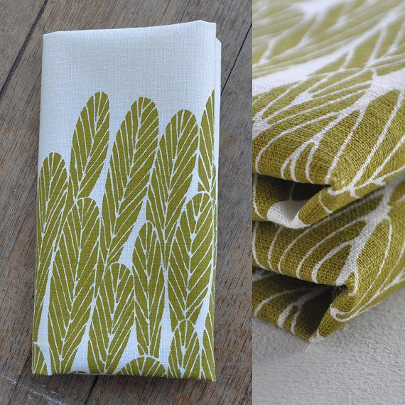 TEA TOWEL leaves by bookhouathome on Etsy