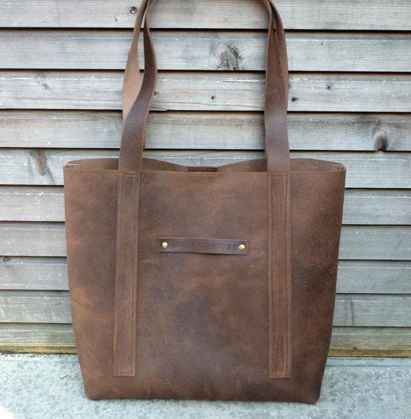 Vintage look waxed leather tote bag in brown by treesizeverse
