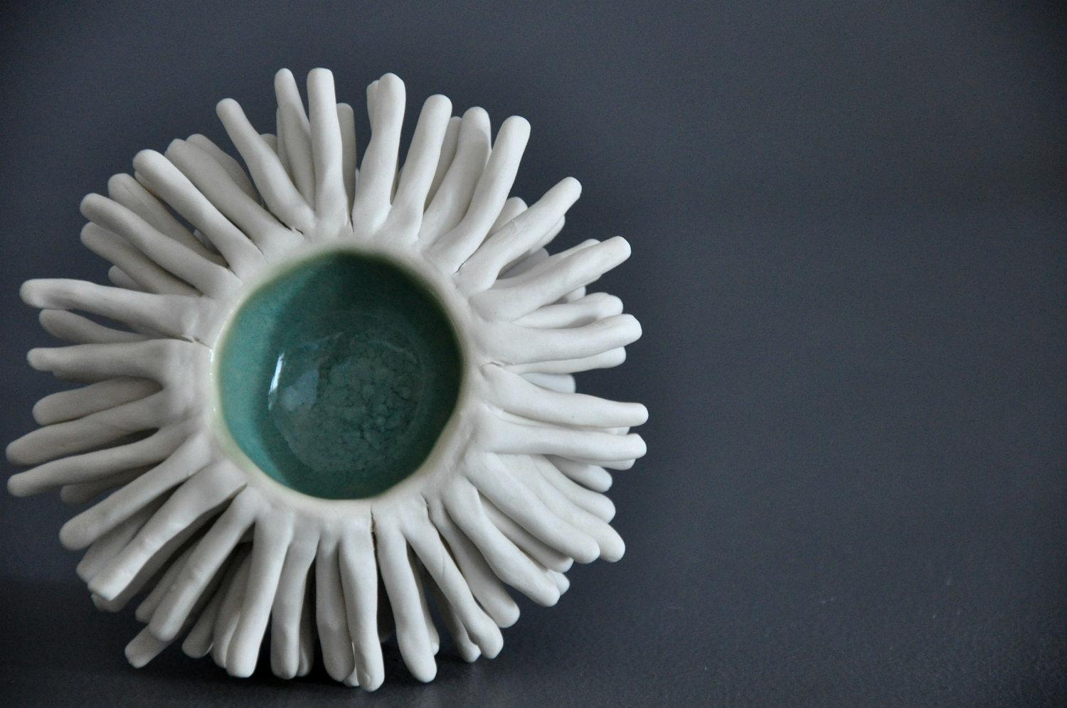 Seawater Anemone Sculptural Bowl OOAK by elementclaystudio on Etsy