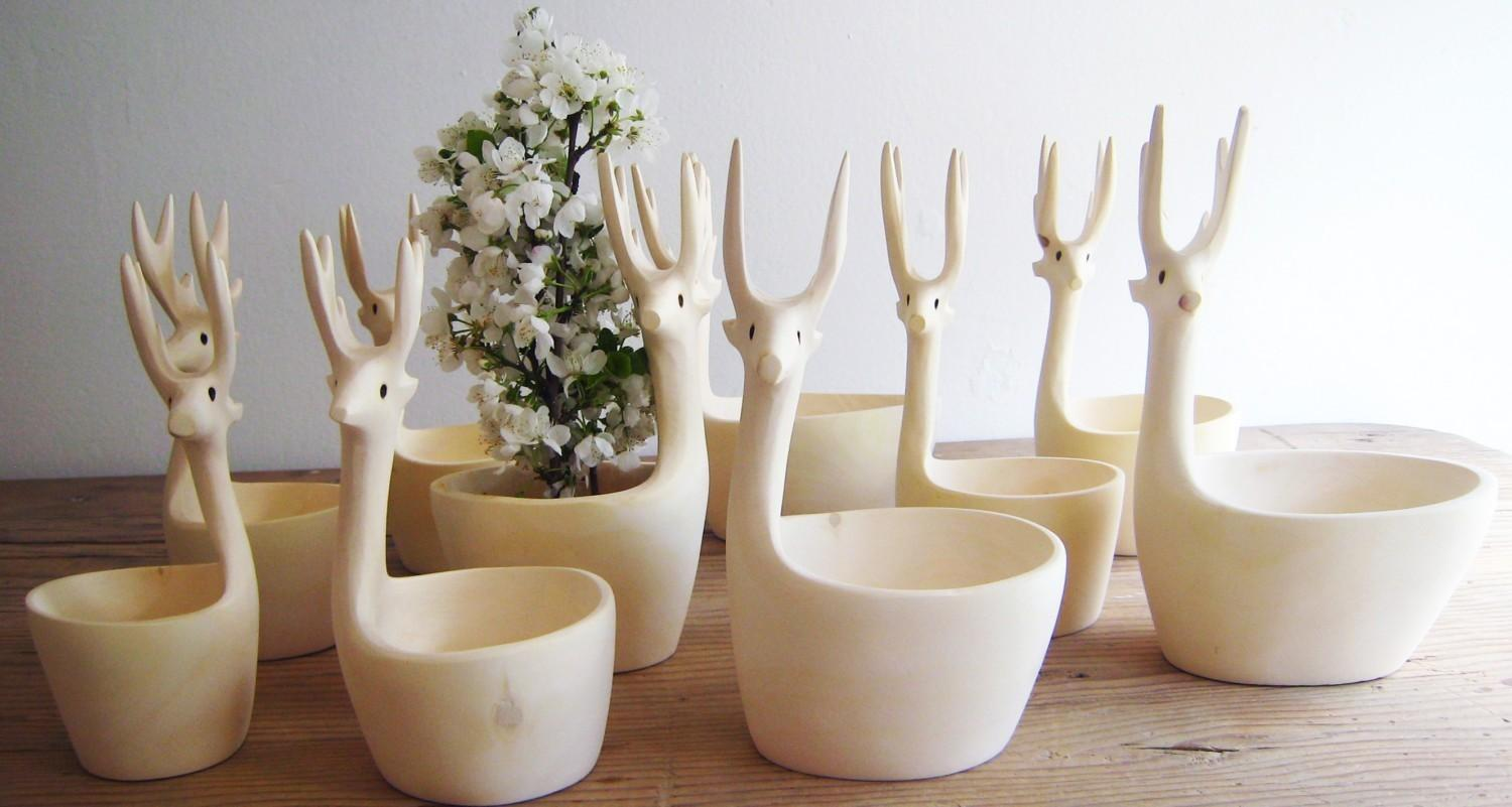 Hand Carved Copal Wood Deer Bowl Set by mexchic on Etsy