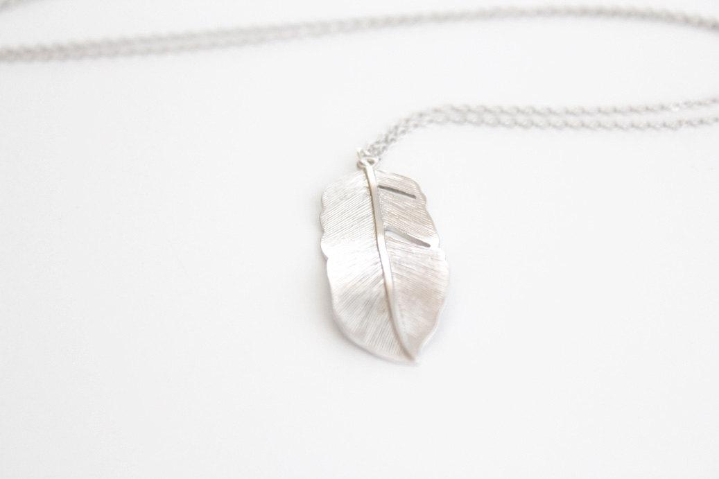 Long Feather Necklace Silver Flowing Feather 28 inch by junghwa
