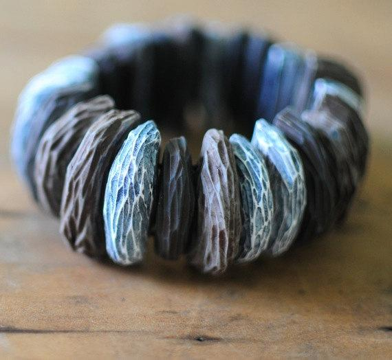 Bark carved bracelet by jibbyandjuna on Etsy