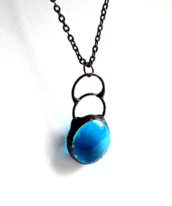 Stained Glass Jewelry Necklace Aqua Drops Gunmetal by LAGlass