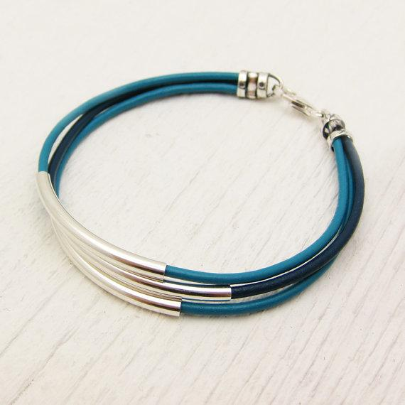 Turquoise Aqua Blue Leather & Sterling Silver Bracelet / by byjodi
