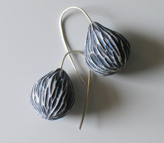Carved pods in pale blue by jibbyandjuna on Etsy
