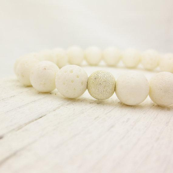 White Coral Bead Bracelet / Coral & Solid Sterling by byjodi