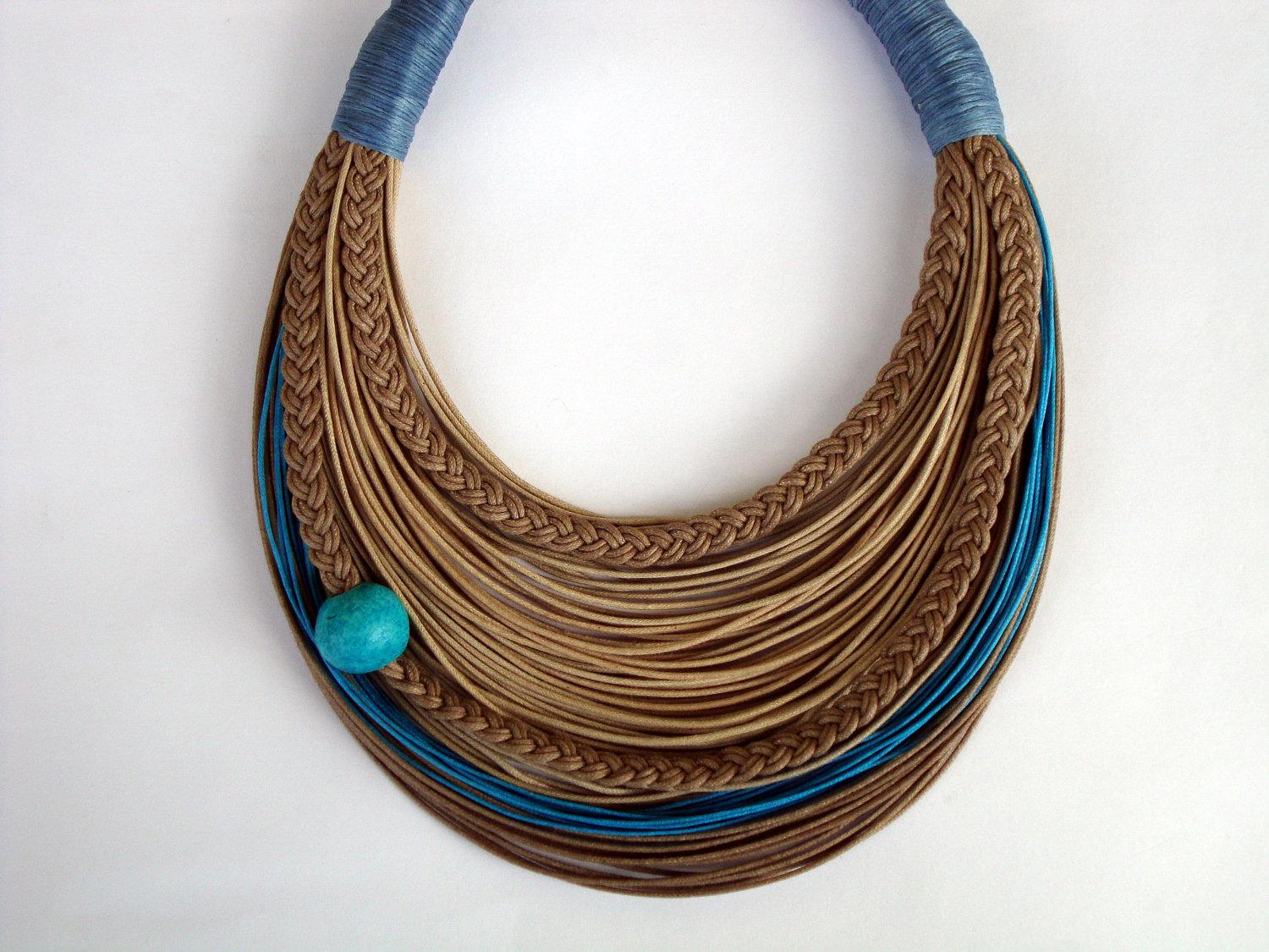 Turquoise and Natural Statement fiber necklace by superlittlecute