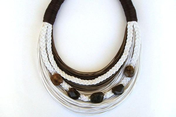White and Brown beaded statement necklace by superlittlecute