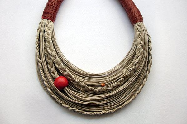 Sinnamon and Natural Statement fiber necklace by superlittlecute
