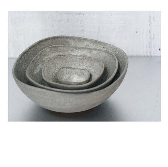 Set of 4 Nesting Bowls in Beach Stone Glaze by Sara by sarapaloma