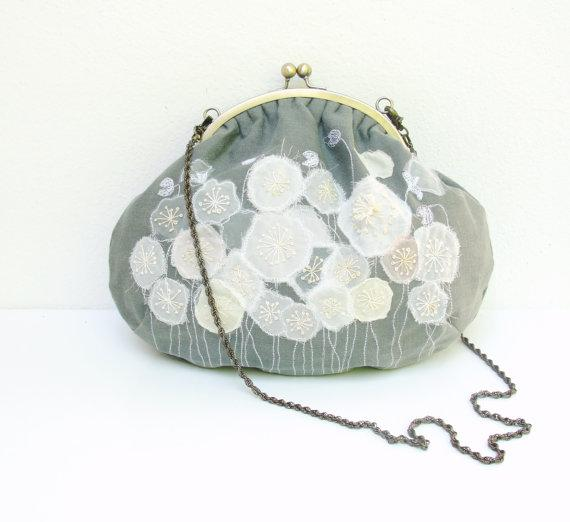 Anemone Frame Bag Embroidered Linen by StarBags on Etsy