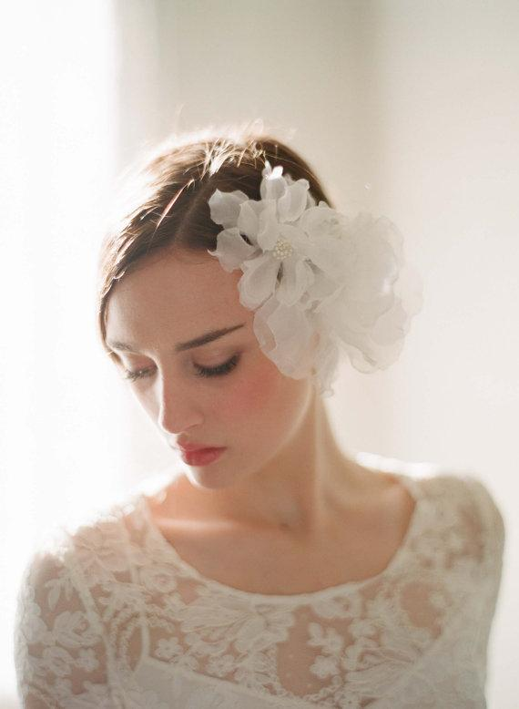 Bridal silk hair flowers Double sheer silk organza by myrakim