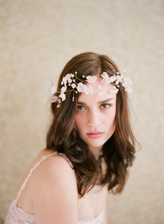 Bridal silk flower blossom halo Blushing floral crown by myrakim