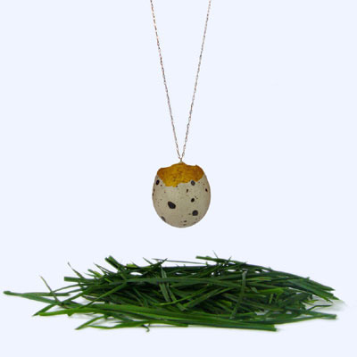 Gold-Lined Quail Egg Necklace — The Lost At E Minor store