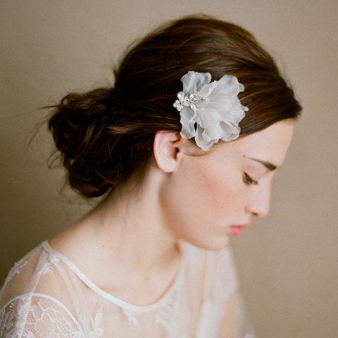 Bridal headpiece silk petals and rhinestone comb Petal by myrakim