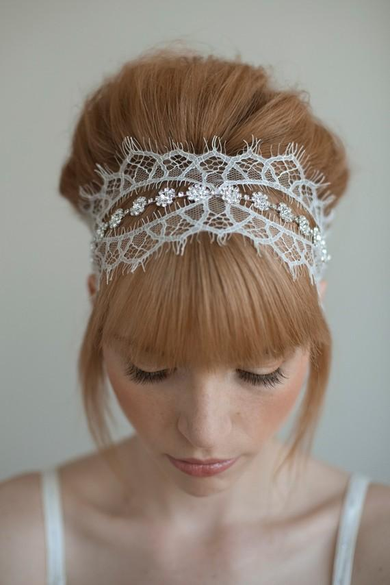 Wedding headband bridal hair piece lace crystals by myrakim