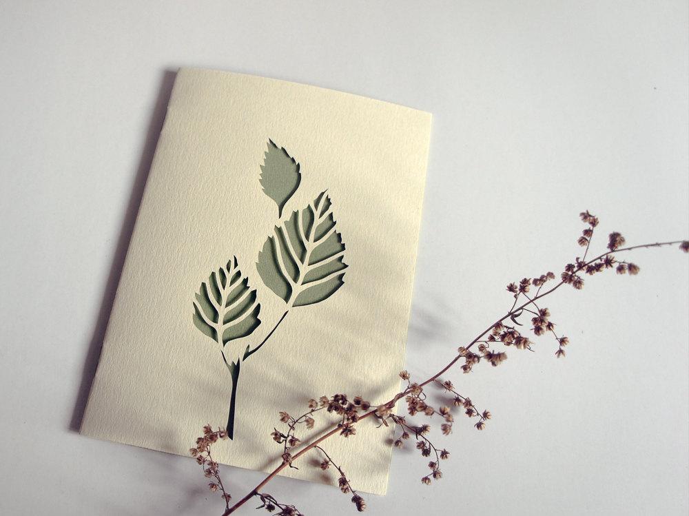 Birch papercut greeting card handcut card 4 x 6 by Papercutout