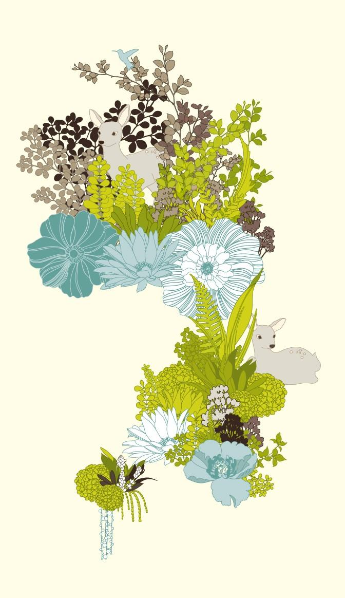 Deer Garden Print FREE SHIPPING by redbeandesign on Etsy